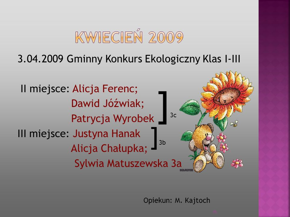 ]3c ]3b KWIECIEŃ 2009 3.04.2009 Gminny Konkurs Ekologiczny Klas I-III